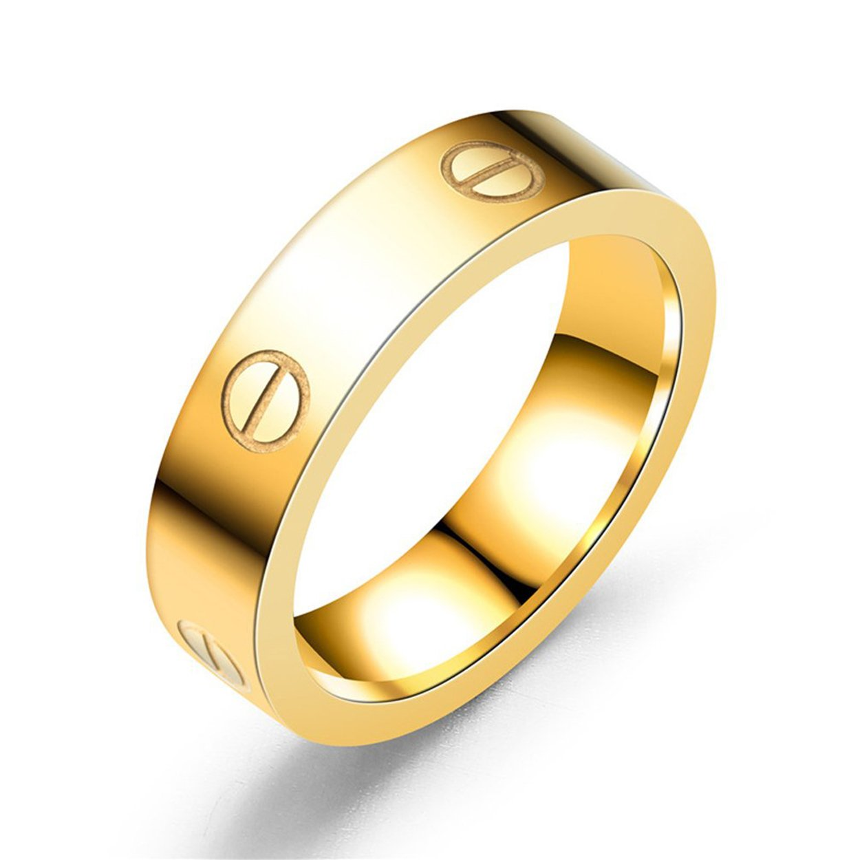 Mintrayor Lifetime Love Rings for Women Men Couples Promise Wedding Titanium Stainless Steel Band Size 8 Gold