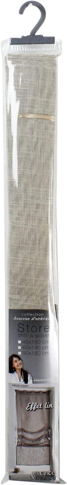 douceur dint/érieur store droit a passants 60x180 cm effet lin haltona noisette