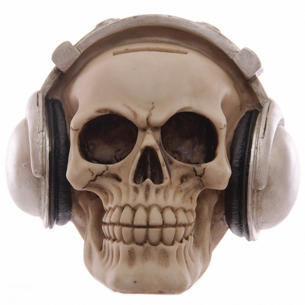 GTH123F Nemesis Now Skull with Headphones & Sunglasses Money Box 'Easy Listening' Ascension777