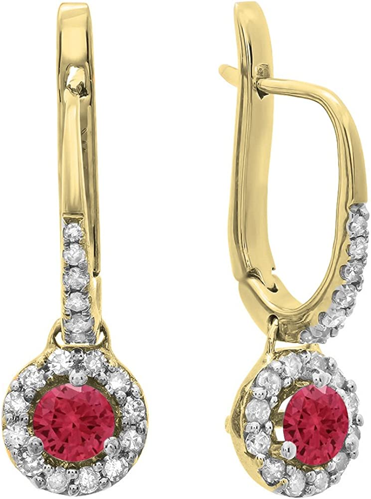 18K amarillo oro 3mm cada redondo Gemstone y blanco Diamond Ladies Halo pendientes de gota colgando