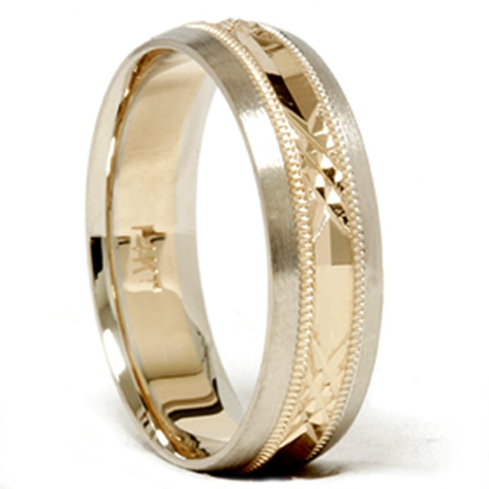 Mens 14k Gold Two Tone Swiss Cut Wedding Ring Band New - Size 6