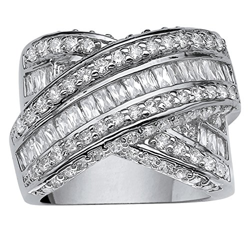 Palm Beach Jewelry Platinum Plated Baguette Cut and Round Cubic Zirconia Crossover X Ring