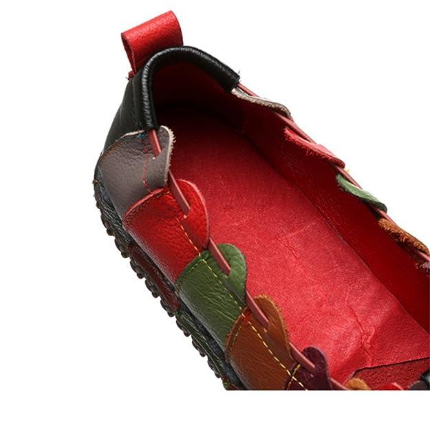 Socofy Mujeres De Cuero Mocasines De Las Cómodo Deslizamiento En Los Zapatos Casuales De La Vendimia Único Contraste De Rayas Color Casuales Pisos De Ballet ...