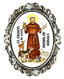 St Francis Patron of Animals Huge 2'' Antique Silver Pin Brooche