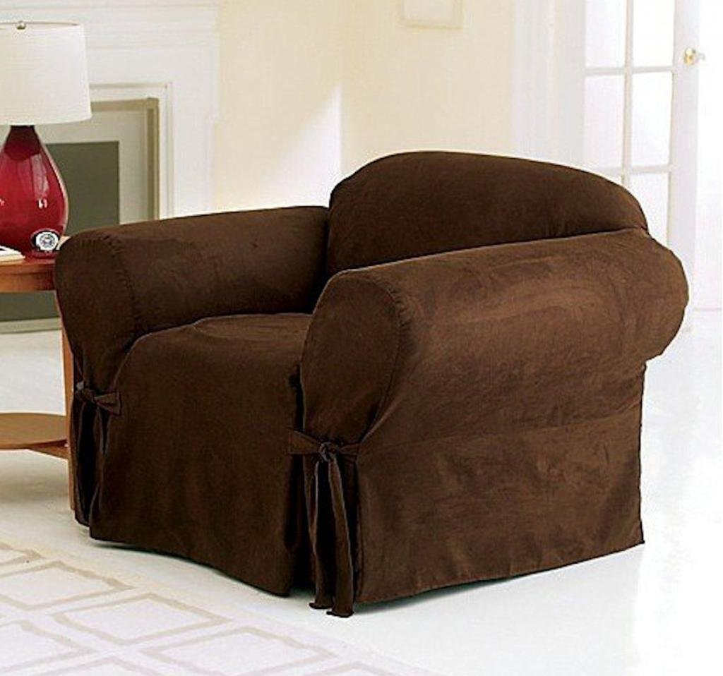 Legacy Decor 1 PC Soft Micro Suede Furniture Slipcover for Chair. Brown Color