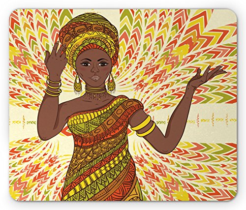 African Woman Mouse Pad by Ambesonne, Dancing Woman Hand Drawing Ethnic Geometric Ornament Colorful Print, Standard Size Rectangle Non-Slip Rubber Mousepad, Green Red Yellow