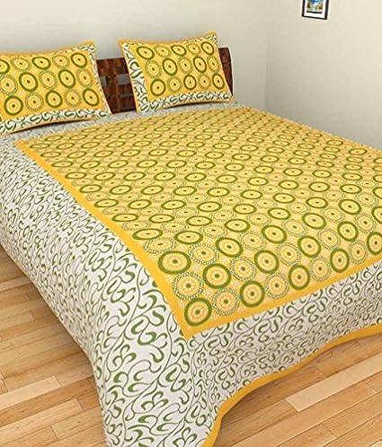 Jaipuri Style JS004 Cotton Multi Printed Double Bedsheet (Multicolor)