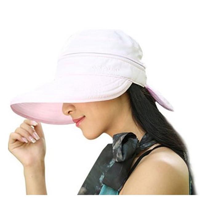 Womens 2-1 Wide Brim Summer Folding Anti-UV Golf Tennis Sun Visor ... 737c67ca6b5