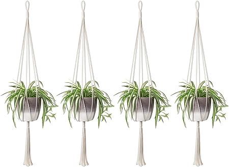 Medium modern macram\u00e9 plant hanger.