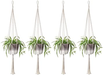 Garden Pots & Planters Macrame Plant Hanger Indoor Outdoor Wall Hanging Planter Basket Cotton Rope Modern Boho Home Decor Power Source