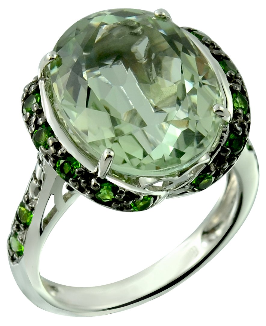 RB Gems Sterling Silver 925 Statement Ring Genuine Gemstone Oval 16x12 mm with Rhodium-Plated Finish (9, prasiolite-Quartz)
