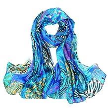 Smartstar Women Lady Printed Soft Silk Large Shawl Scarves - Blue