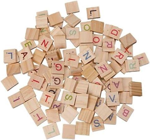 Bggie 100 Piezas de Madera Scrabble Azulejos Coloridos Letras números para Manualidades Madera Alfabeto Juguete: Amazon.es: Hogar