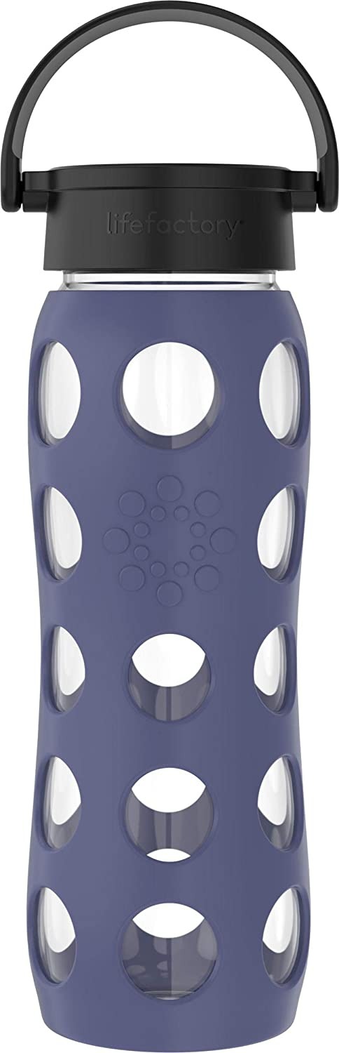 Lifefactory Classic Cap, Dusty Purple 22-Ounce BPA-Free Glass Water Bottle with Protective Silicone Sleeve, 22 Ounce