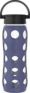 product image for Lifefactory Classic Cap, Dusty Purple 22-Ounce BPA-Free Glass Water Bottle with Protective Silicone Sleeve, 22 Ounce