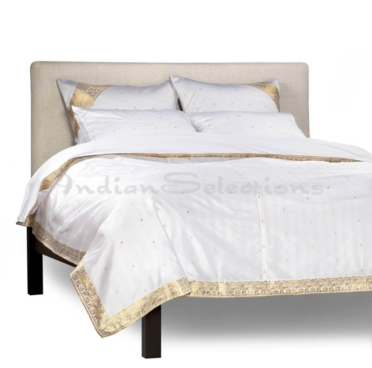 White Gold - 5 Piece Handmade Sari Duvet Cover Set with Pillow Covers / Euro Sham - King
