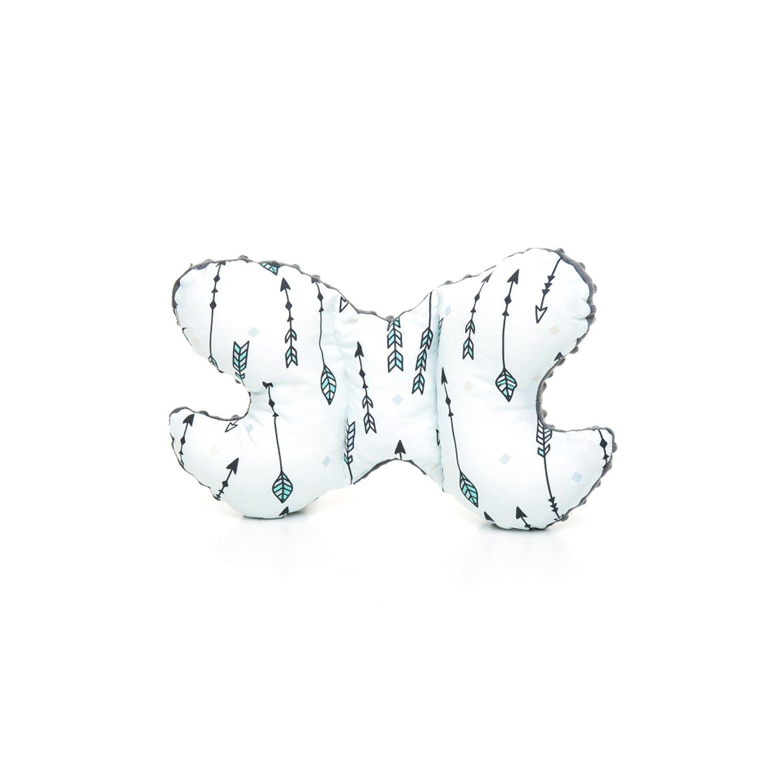 decorwelt | Babykissen Schmetterling 24x36 cm Muster Pfeil Grau Nackenkissen Kissen Kinder Neugeborene Kopfform Hörnchen Kinderkissen Nackenstützkissen milutka