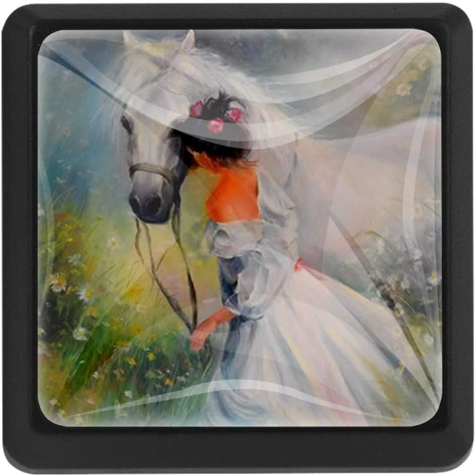 Oil Painting Girl with A Horse 3pcs Drawer Knob Pull Handle Cupboard Knobs with Screws for Home Office Dresser Furniture Wardrobe Handles