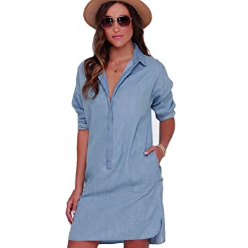 383c1df217d4 Janly Dress Plus Size Women s Denim Shirt Dress Girls Summer Pockets Long Sleeves  Dresses (S