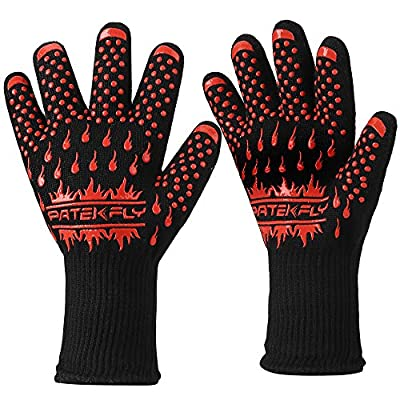 BBQ Gloves,Grill/Cooking Gloves,Pateklfy 100% Cotton Lining,Heat Resistant Gloves Withstand Heat Up To 932? for Oven Gloves/Oven Mitts and BBQ Mitts,Perfect for Baking,Barbecue(1 Pair )