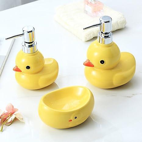 Amazon Com Yournelo Ceramic Cartoon Yellow Duck Cute Bathroom Accessories Set For Home Set Of 3pcs Home Kitchen