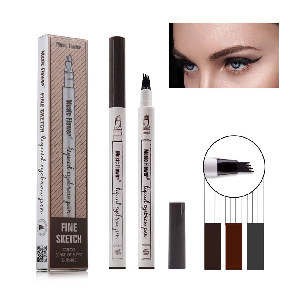 Eyebrow Tattoo Pen, Tattoo Augenbrauenstift mit Tips Wasserdichte Langlebige Verfassungs Brauenstifte Flüssige Augenbraue Bleistift für Make-up (# 01-Kastanie) FOXTSPORT