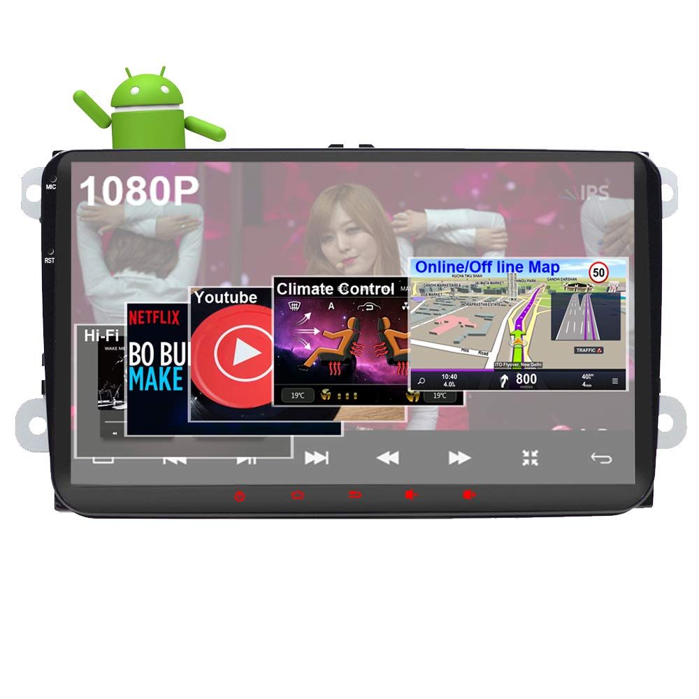 Android 8.1 Car Stereo for Volkswagen VW 2+16G 9inch with Canbus GPS Navigation Head Unit Quad Cord Bluetooth OBD WiFi Mirror Link Touch Screen Car Radio SWC GPFATTRY