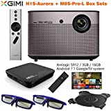XGIMI H1S-Aurora Native 1080p HD Android Smart Projector 3D Home Theater Projector System Pair M8S-Pro AndroidTV Box(S912/3G/16G) Integration Harman/Kardon Customized Subwoofer Stereo