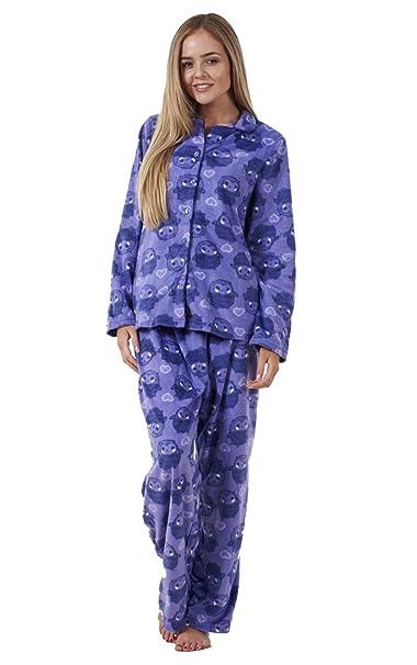 Conjunto de pijama para mujer - Forro polar - Estampado de búhos - XS: EU
