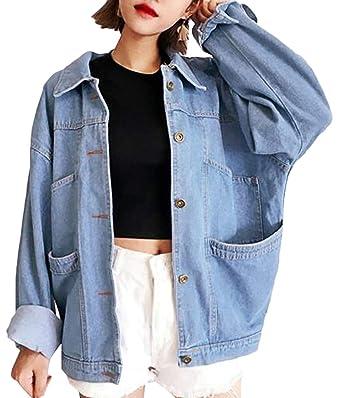 Bevalsa Femme Veste en Jean Blouson Retro Jacket Femme Manteau Jeans Loose  Cardigan Mode Boyfriend Oversize