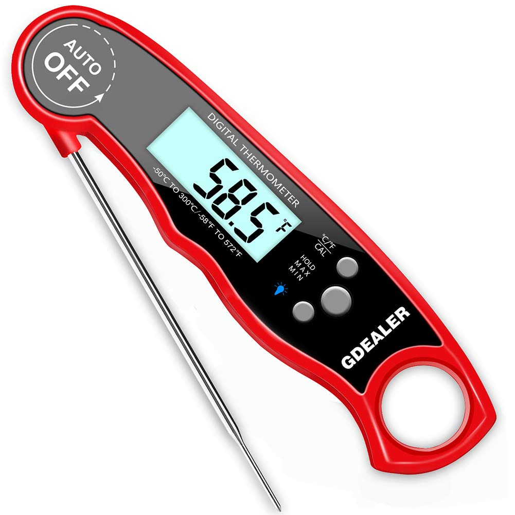 GDEALER Alarm Meat Thermometer Waterproof Super Fast Instant Read Thermometer with Calibration Function Back-lit Digital BBQ thermometer Kitchen Cook Thermometer for Grill Smoker Food,Candy,Milk DT14