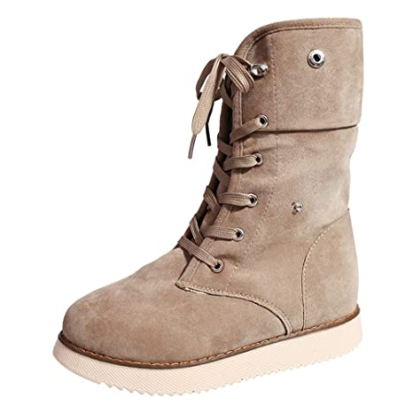 1181423f6e032 Amazon.com: DETAIWIN Women Snow Boots Suede Lace Up Warm Mid Calf ...