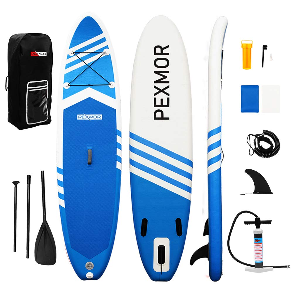 PEXMOR Inflatable Stand Up Paddle Board for Fishing Yoga Paddle Boarding with Premium SUP Accessories & Carry Bag, Surf Control, Non-Slip Deck   Youth & Adult Standing Boat 10'6'' X 30'' X 6'' (Blue) by PEXMOR