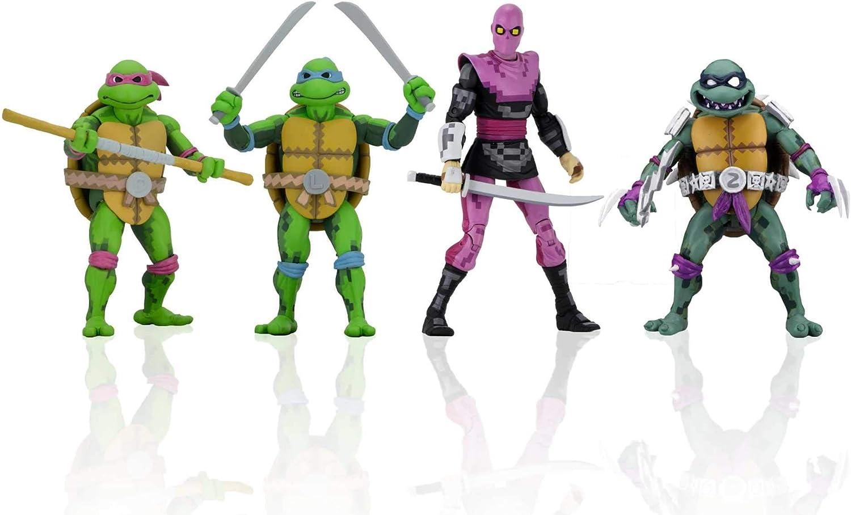 NECA TMNT Turtles in Time: Donatello, Leonardo, Slash, Foot Soldier 7 Inch Action Figure Set