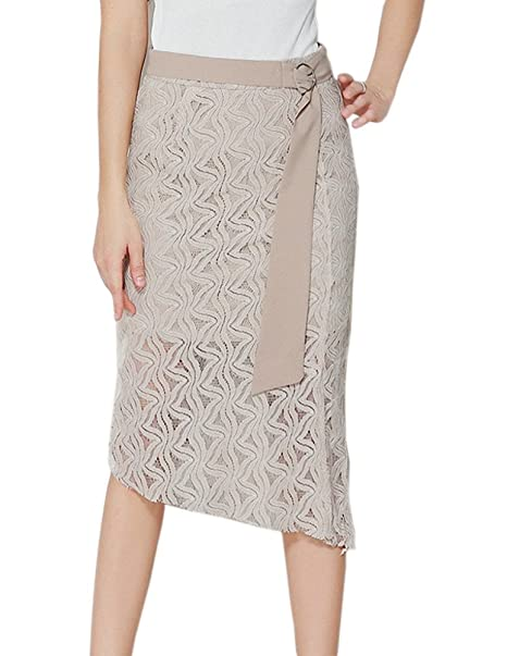 358ff07afef Afibi Women s Below The Knee Lace Bodycon Midi Pencil Skirt with Belt  (Small