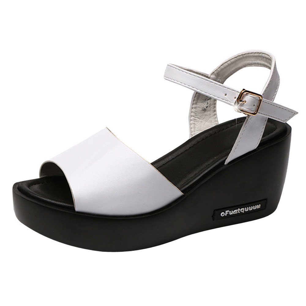 Clearance Sale Shoes For Women ,Farjing Fashion Women Fish Mouth Platform High Heels Wedges Sandals Buckle Slope Shoes(US:7.5,White)