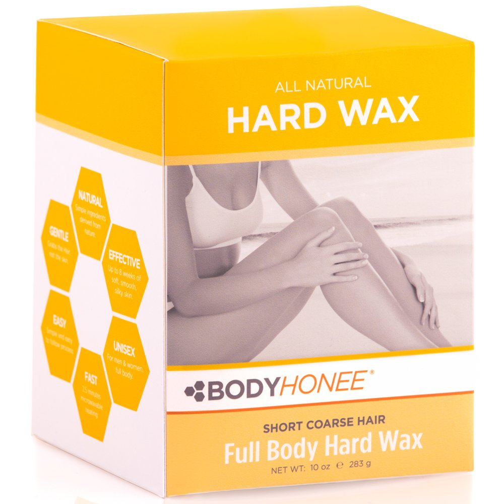 Full Body Hard Wax: For Short, Coarse Hairs – Men & Women (10 oz) BodyHonee