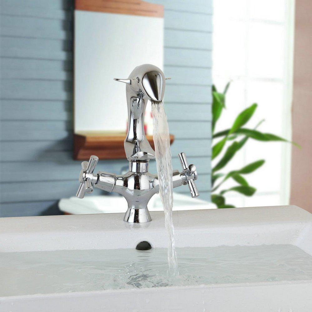 Yutfaucet Dolphin Shaped Chrome Finish Bathroom Basin Faucet ...