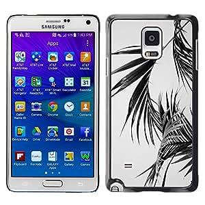 X-ray Impreso colorido protector duro espalda Funda piel de Shell para Samsung Galaxy Note 4 IV / SM-N910F / SM-N910K / SM-N910C / SM-N910W8 / SM-N910U / SM-N910G - Palm Leaves Black White Miami California