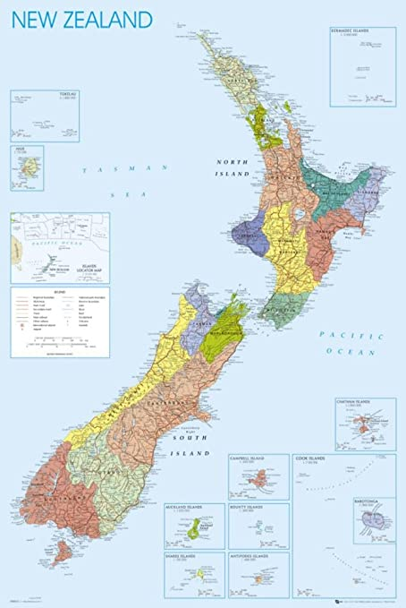 New Zealand Map Print.24x36 New Zealand Map Poster Print Poster Print 24x36