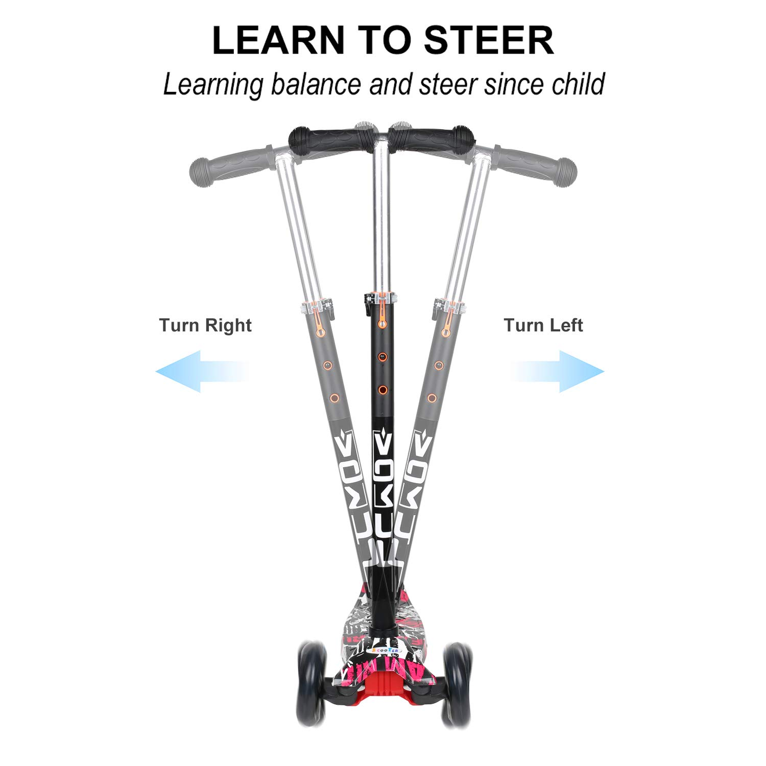 VOKUL Mini Kick Scooter for Kids Aged 3 and Above, Kick Glider 3 Wheel LED Light with Adjustable Height for Childhood Fun – Excellent Stable Lean-to-Steer Mechanism