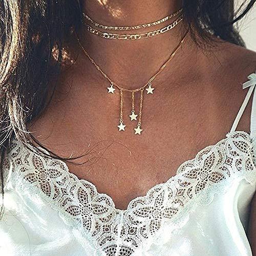 efa Star Moon Charm Necklace Layering Chain Choker Women Girls ()