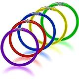 Glow Sticks 100 Pack Light Up GrassVillage Glowstick UV Bracelets with Connectors (Mixed)