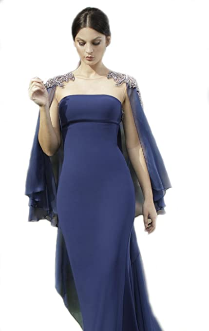 Amazon.com: Top-Sexy Navy Blue Beaded Cape Gown Long High Neck Prom Dresses: Clothing