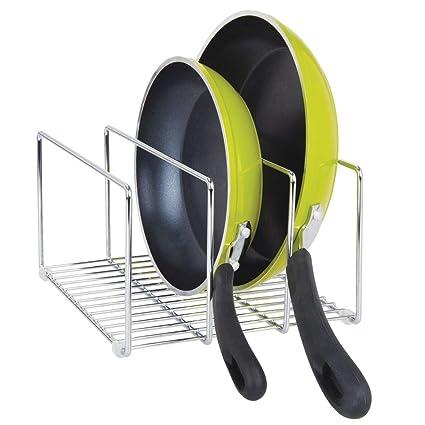 mDesign Soporte para sartenes y tapas en metal – Compacto organizador de tapaderas, bandejas de
