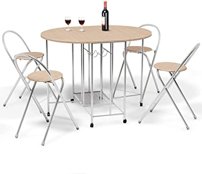 Giantex 5PC Foldable Dining Set with Shelf Storage and Wine Rack, 4 Chairs  and Table Set with Wood Top and Metal Frame for Apartment and Kitchen Home  ...