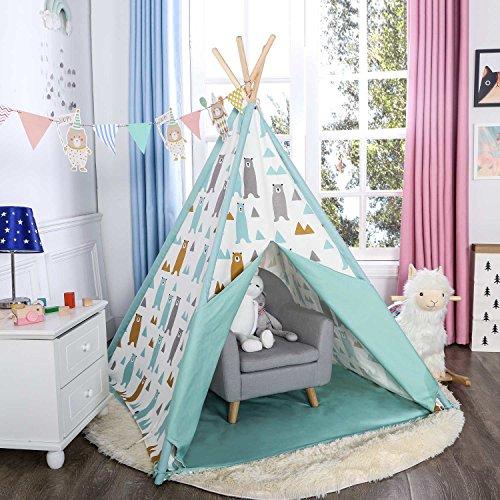 - Asweets Kids Teepee Tent for Kids Boys & Girls - Kids Play Tent - Kids Tent Indoor - Baby Teepee Tent for Boys - Play Teepee Tents for Kids - Tipi Tent Kids (Blue Little Bear)