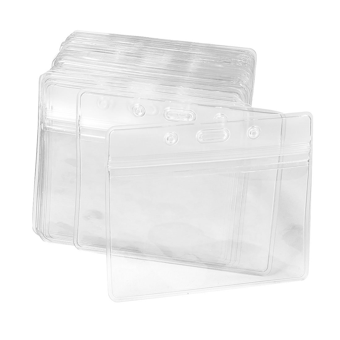 uxcell Plastic Horizontal Name Tag Badge ID Card Holders, 50-Piece, Clear