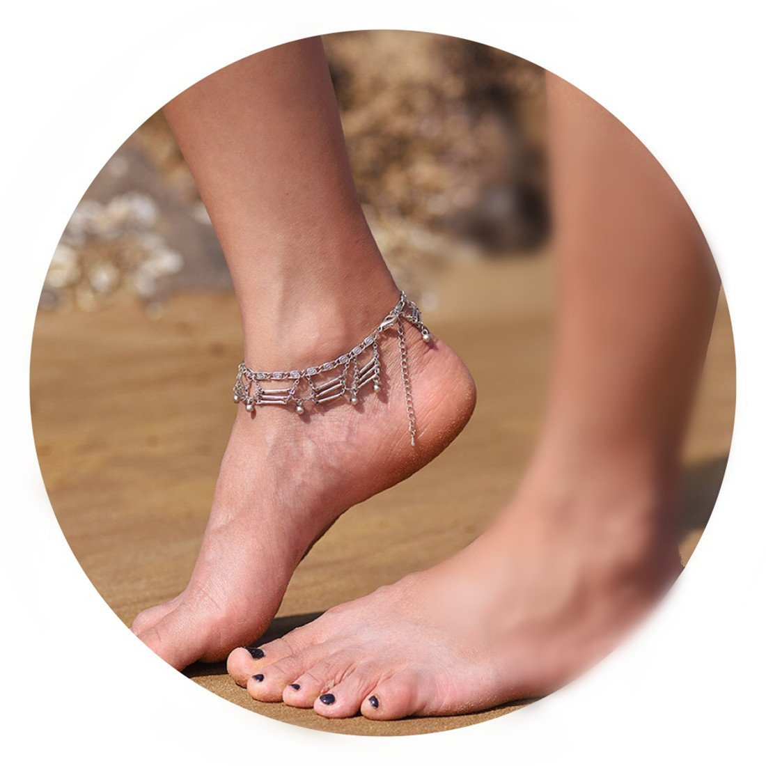 Fettero Anklet Women Handmade Dainty Summer Boho Beach Foot Chain Adjustable Tassel Ancient Silver Beads