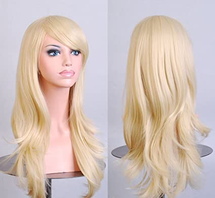 XJG Stylish Curly Hair pad Light Blonde wig Cospaly 70CM Young long Synthetic Hair Perruque peluca